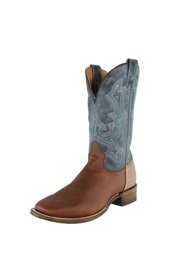 Men's Corral Boot, Brown Two Tone Vamp, Blue Shaft with Bright Blue Stitching