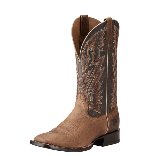 Men's Ariat Boot, Ranchero, Khaki and Dark Brown, Orange and White Stitch, Square Toe