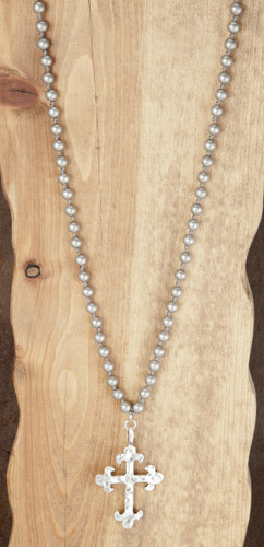 West & Co. Necklace, Silver Beads, Cross Charm