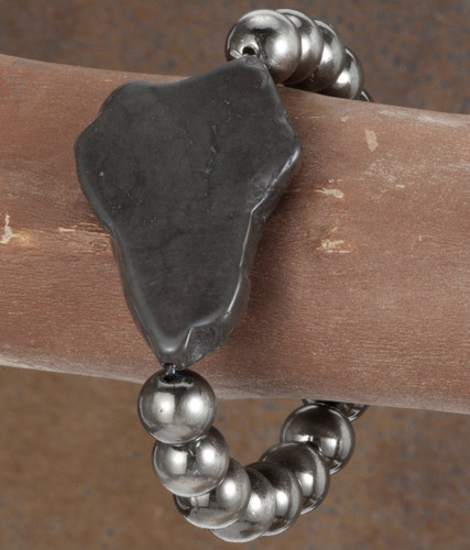 West & Co. Bracelet, Worn Silver with Black Chunk