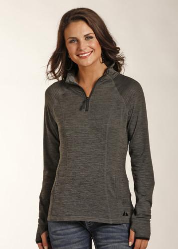 Women's Powder River Pullover, 1/4 Zip, Dark Gray