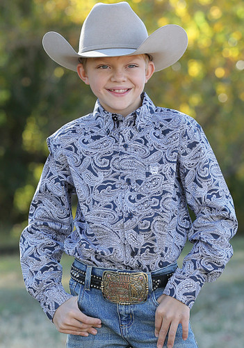 Boys Cinch L/S, Navy Paisley