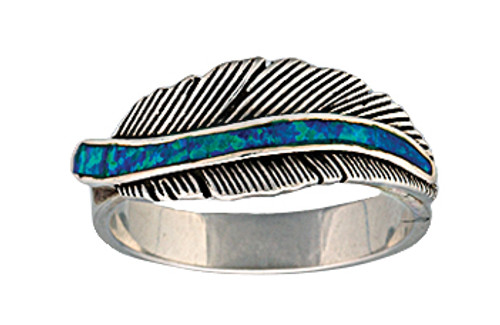 Montana Ring, Feather w/ Turq Opal