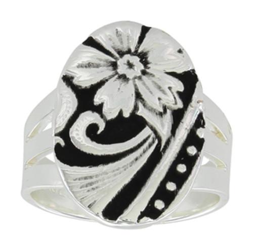 Montana Ring, Silver/Black Flower