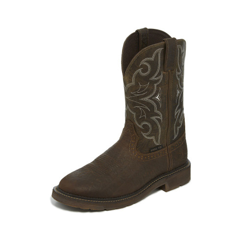 Men's Justin Work Boot, Dark Brown Square Toe, Dark Brown Shaft, Steel Toe