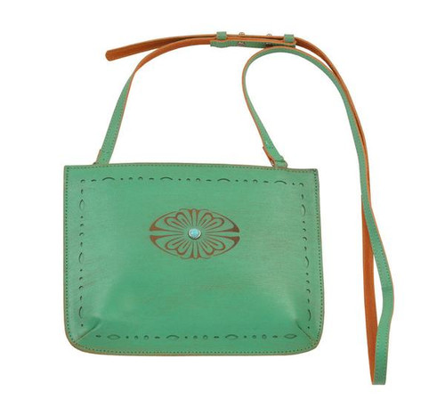 Most Wanted USA Crossbody, Turquoise with Brown Flower