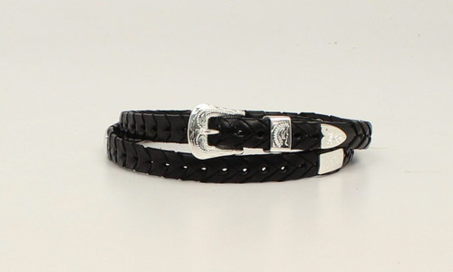 M&F, Braided Hat Band Leather with Conchos Black