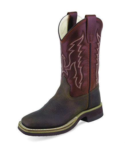 Kids Old West Boots, Dark Brown with Maroon Shaft