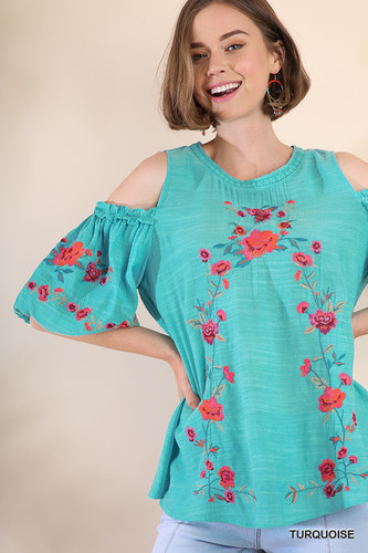 Women's Umgee Top, Cold Shoulder, Floral Embroidery