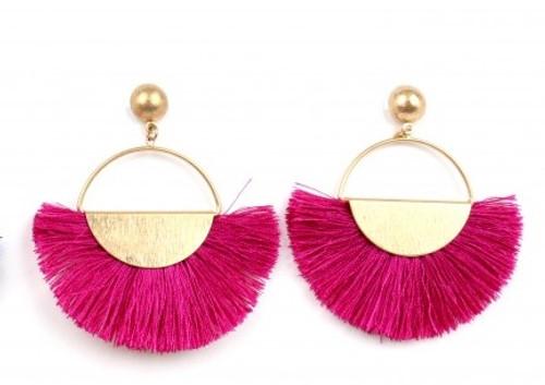 Ethel & Myrtle Earrings, Fuschia Tassel Fan