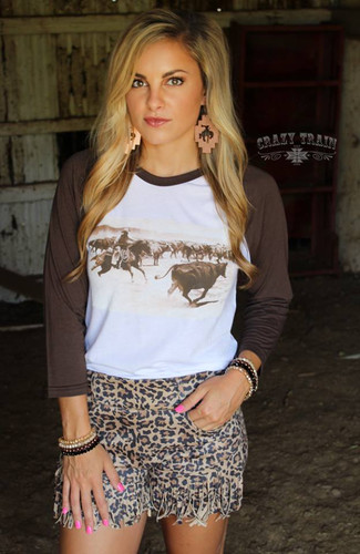 Women's Crazy Train L/S, Cuttin' Cowboy, Brown Raglan Sleeves