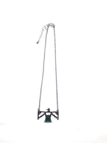 West & Co. Necklace, Burnished Silver Thunderbird with Turquoise Stone