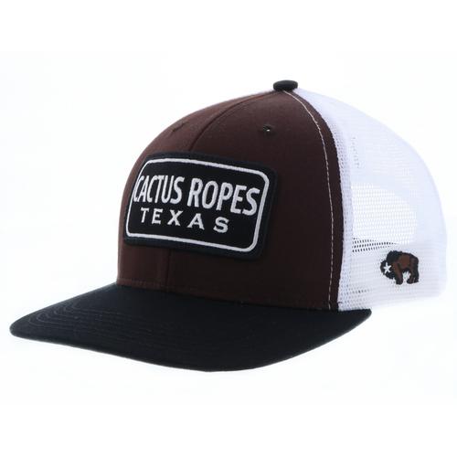 Men's Hooey Cap, Cactus Ropes, Brown and White Trucker