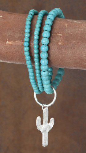 West & Co. Bracelet, Three Strand, Round Turquoise, Cactus Charm