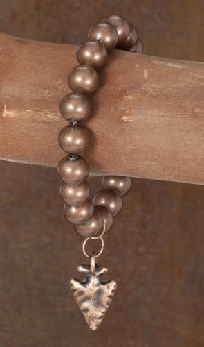 West & Co. Bracelet, Single Strand Burnished Copper with Arrowhead Charm, Stretch