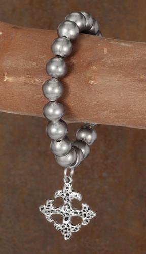 West & Co. Bracelet, Single Strand Burnished Silver w/Cross Charm, Stretch