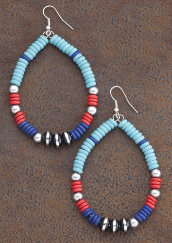 West & Co. Earrings, Oval, Red, Black, Turquoise Beads