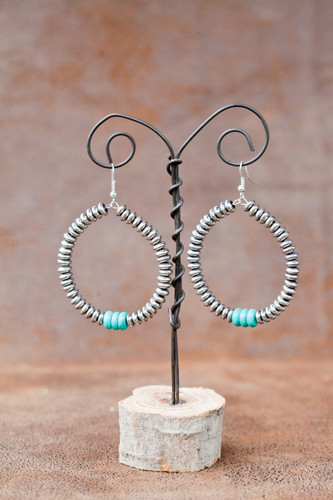 West & Co. Earrings, Silver Dangle Hoops, Turquoise Stones