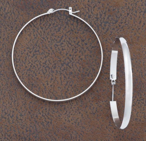 West & Co. Earrings, Plain Silver Hoop