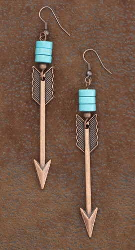 West & Co. Earrings, Burnished Copper Arrow w/Turquoise