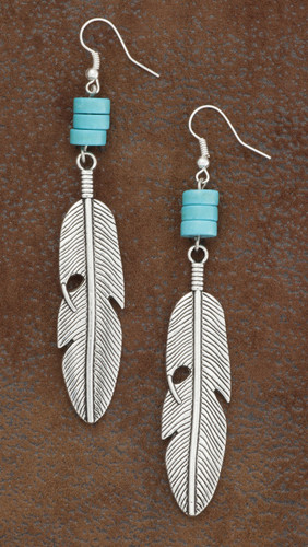 West & Co. Earrings, Burnished Silver Feather w/Turquoise