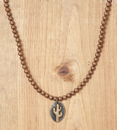 West & Co. Necklace, Copper with Gold Cactus Charm