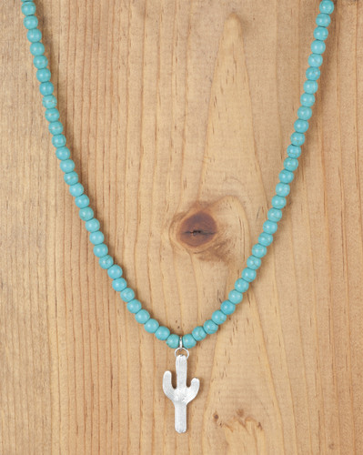 West & Co. Necklace, Turquoise Bead with Silver Cactus Charm