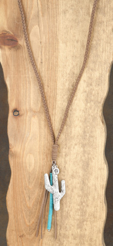 West & Co. Necklace, Brown Braided Leather, Large Cactus, Turquoise Strand