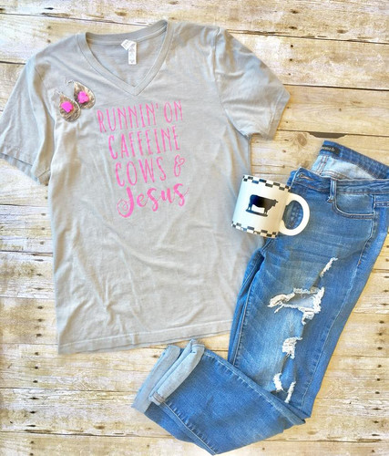 Women's Whole Herd Tee, Caffeine, Cows and Jesus, V-Neck