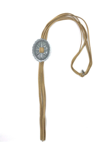 West & Co. Necklace, Silver Concho Bolo with Brown Leather