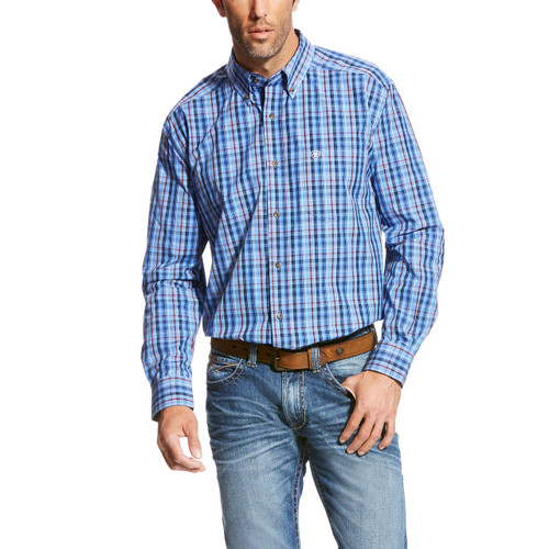 Men's Ariat L/S, Paco, Red White and Blue Plaid