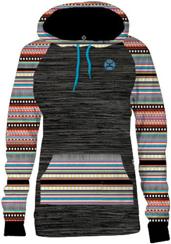 Girls Hooey Hoodie, Charcoal with Aztec Print