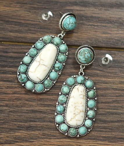Isac Trading Earrings, Turquoise Stone Border, White Stone Center