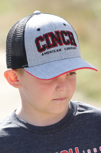 Boys Cinch Cap, Gray with Black Mesh, Red Letters