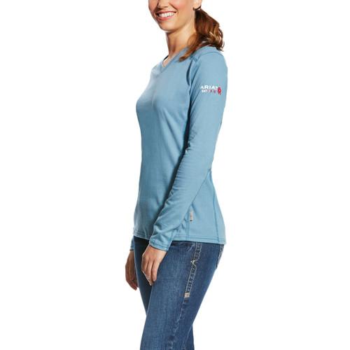 Women's Ariat L/S, FR, Steel Blue