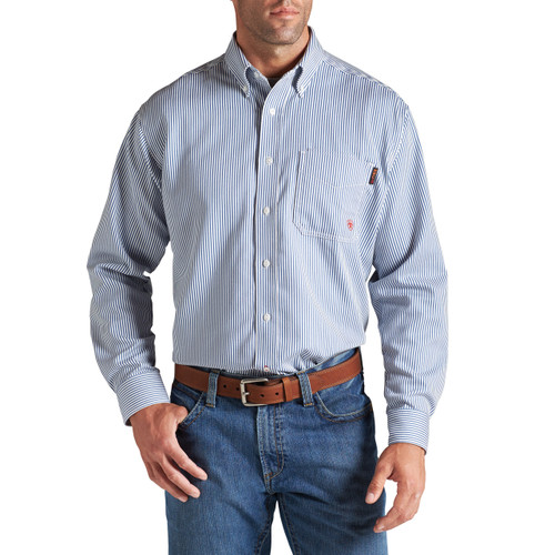 Men's Ariat L/S, FR, Blue Pinstripe