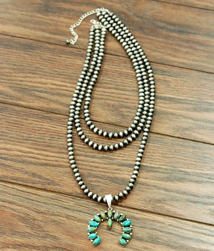 Isac Trading Necklace, Turquoise Squash Blossom, 3 Strand