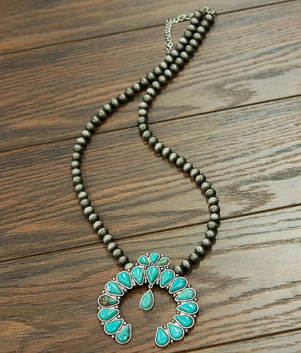 Isac Trading Necklace, Navajo Pearl with Turquoise Squash Blossom