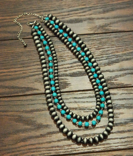 Isac Trading Necklace, Navajo and Turquoise Beads, 3 Strand