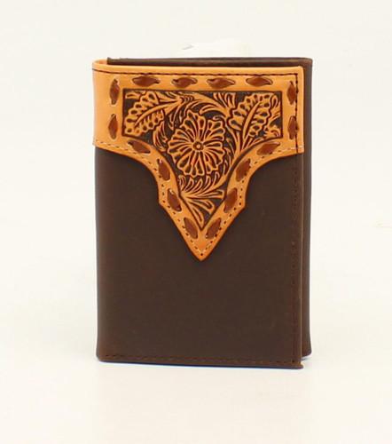 Men's Nocona Wallet, Trifold, Dark Brown Floral Tooling