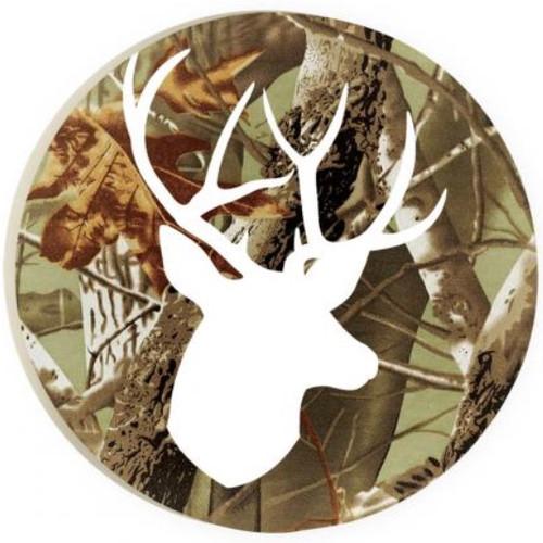 PGD Car Coaster Singles, Camo with Deer Outline