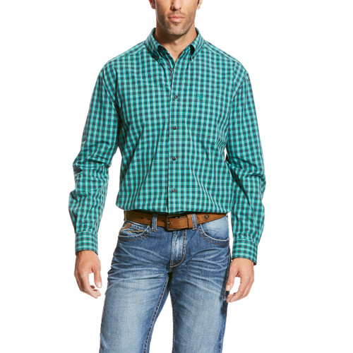 Men's Ariat L/S, Vadell, Black and Turquoise Plaid