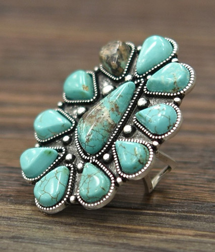 Isac Trading Ring, Turquoise Stone Flower