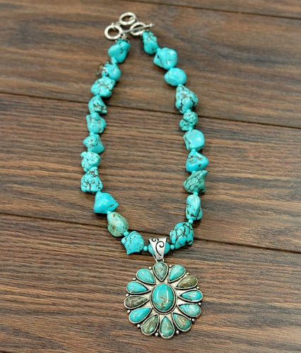Isac Trading Necklace, Turquoise Stones with Flower Pendant