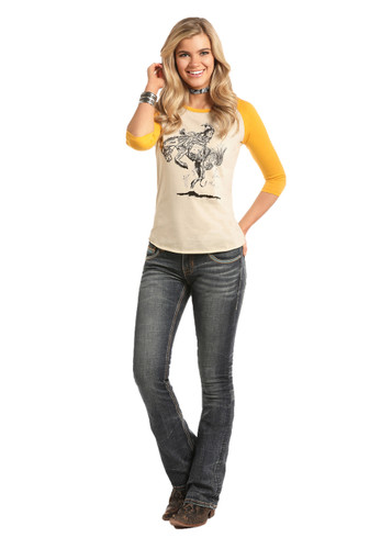 Women's Rock & Roll L/S, Cream with Yellow Raglan, Bucking Bronc