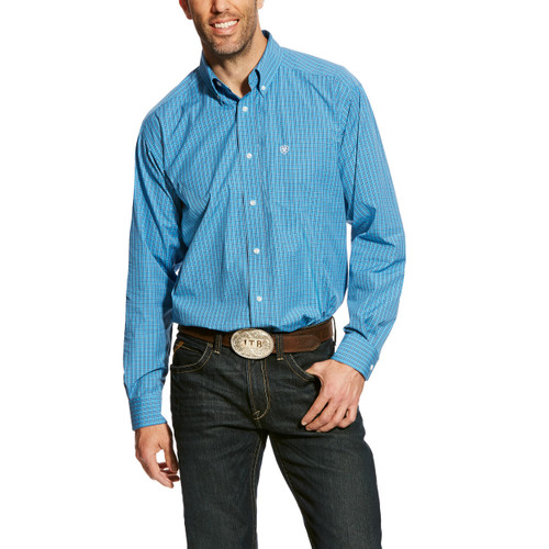 Men's Ariat L/S, Abelman, Blue with White Plaid