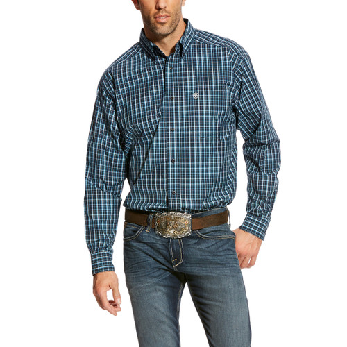 Men's Ariat L/S, Abington, Navy and White Plaid