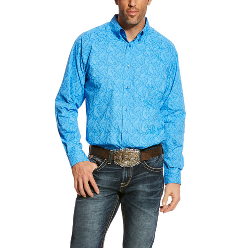 Men's Ariat L/S, Alcosta, Light Blue Paisley