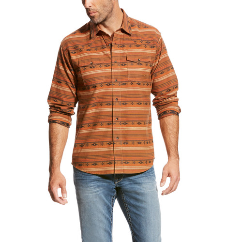 Men's Ariat L/S, Wagnor Retro, Orange Southwest Print