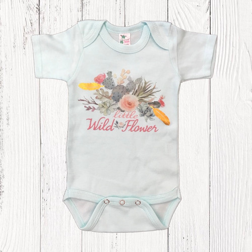 Infant Liberty Linens Onesie, Wild Flower, Mint